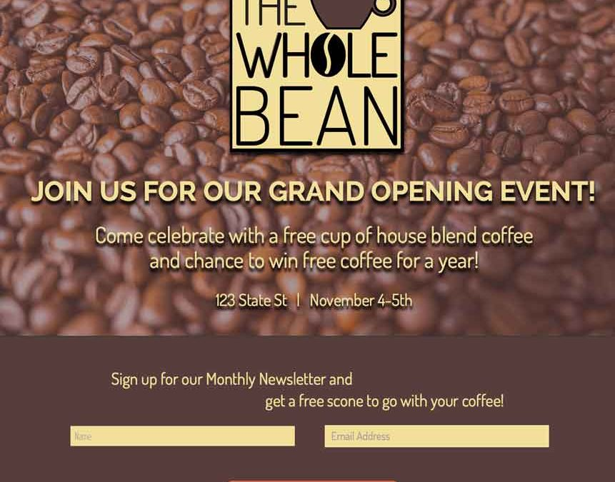 Concept ~ The Whole Bean Brand Identity/Landing Page