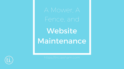 A lawnmower, a fence and website maintenance