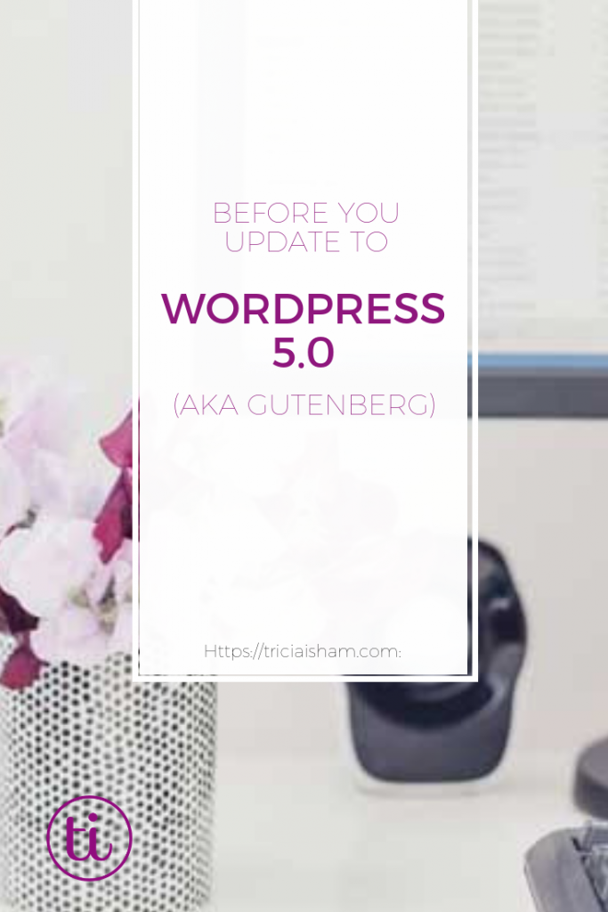 Before you update to WordPress 5.0 take these steps on your website (https://triciaisham.com)