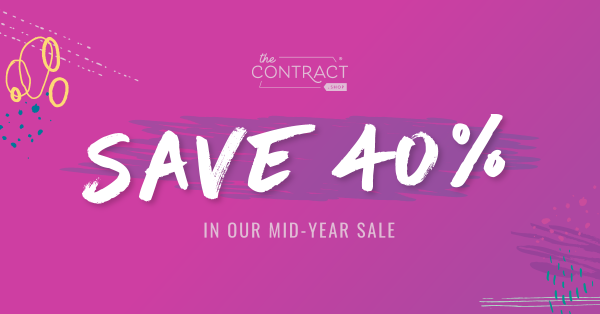 The Contract Shop mid-year sale pink banner advertising to save 40% off