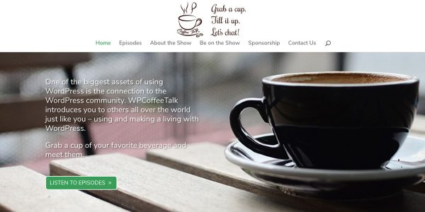 Image of WPCoffeeTalk HeroSection to show the logo and navigation sections