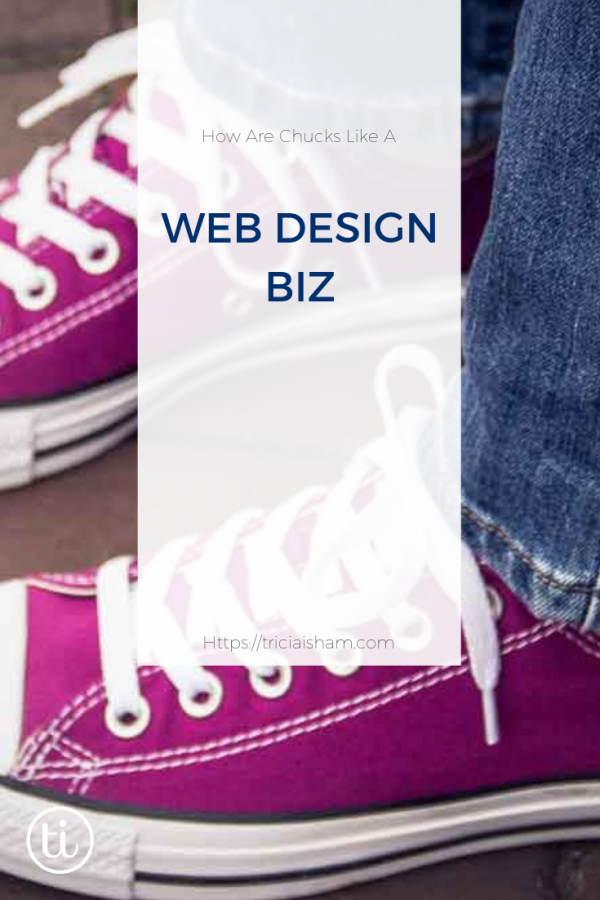 "Raspberry colored Converse sneakers behind an overlay that says ""How are chucks like a web design biz"""