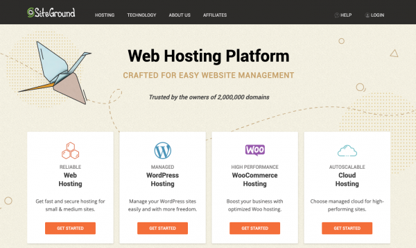 Home page for website host Siteground