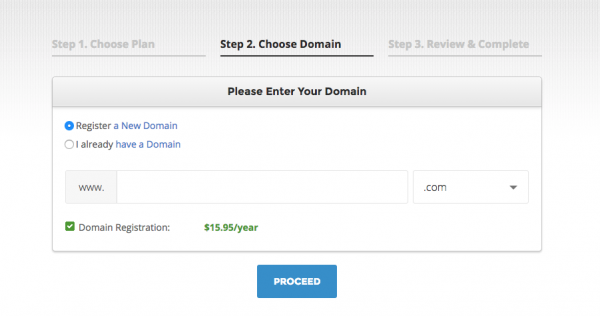 Screenshot showing where to enter domain name