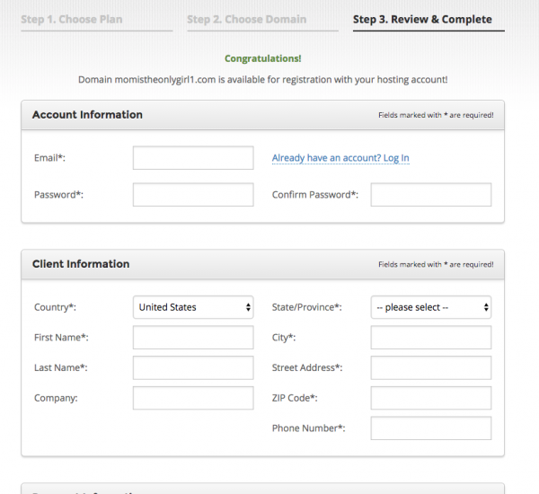screenshot of purchase form
