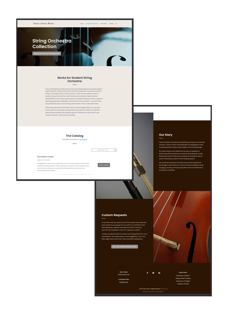 String Music Page for Music Publishing Company