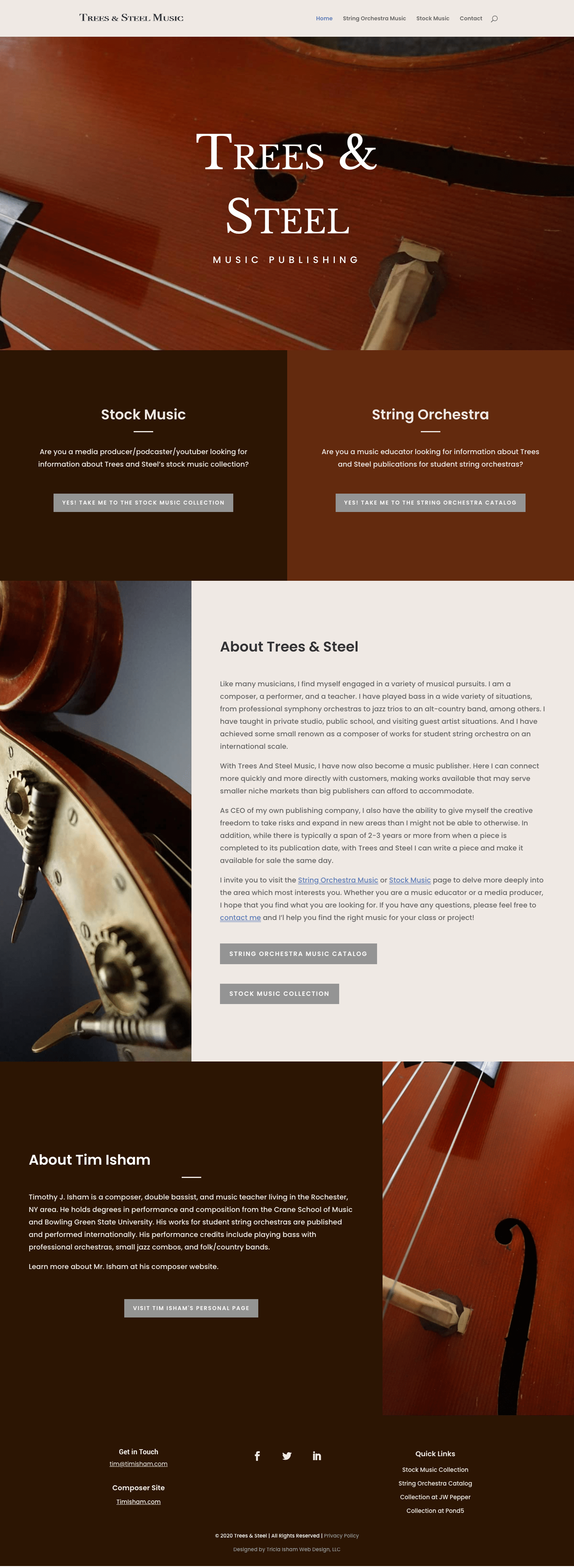 Screenshot of Trees and Steel homepage