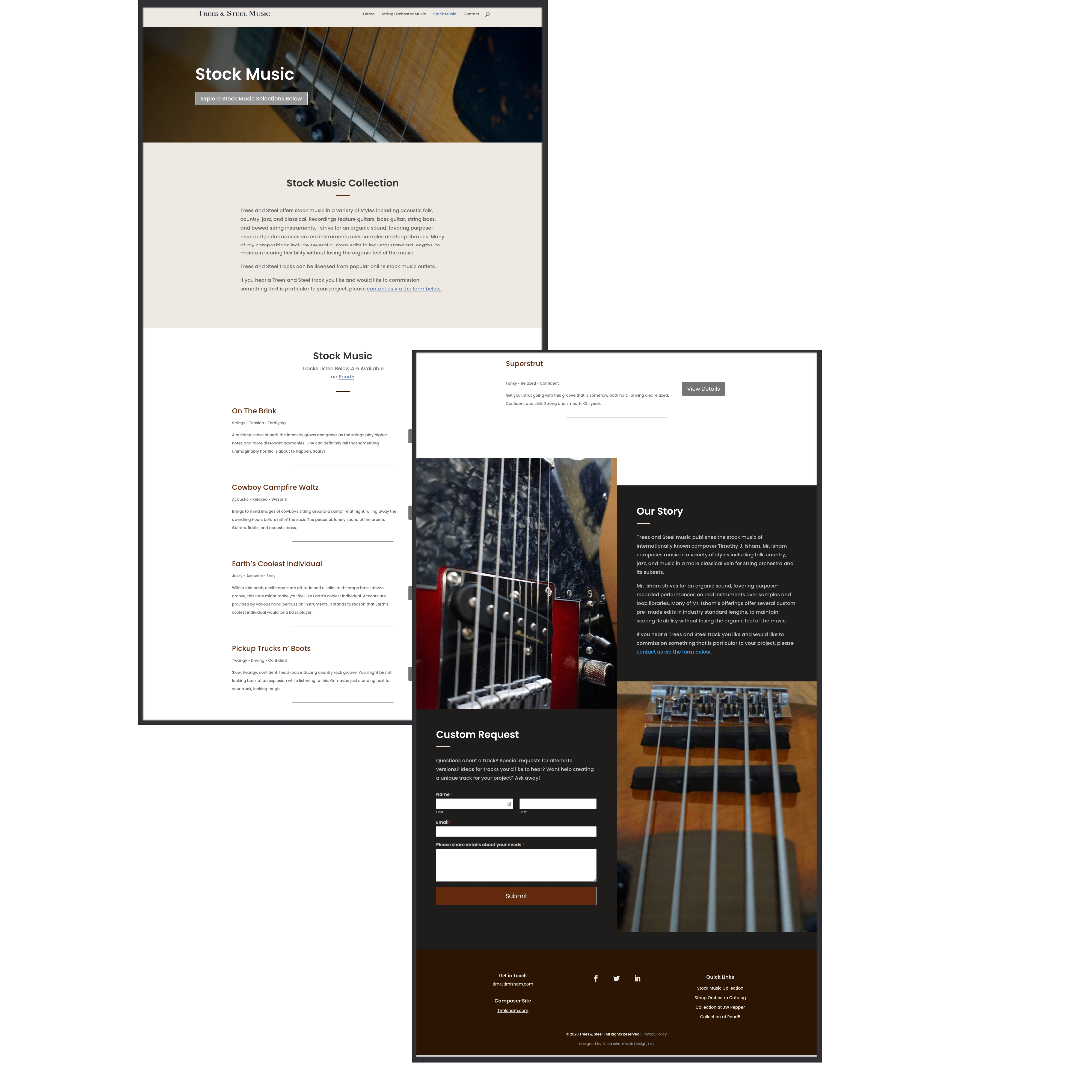 Stock Music page for Trees and Steel Music Publishing website