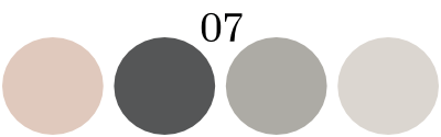 color set 7: light pink, and three shades of gray