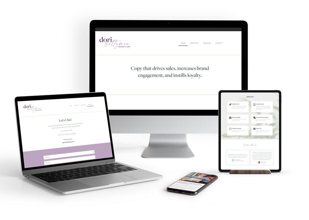 Dori Saltzman, copywriter website shown on laptop, ipad, iphone and desktop
