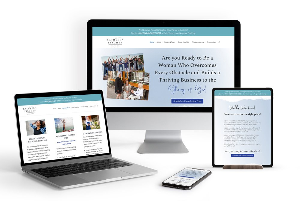 Christian Business Coach's new website pages portrayed on various devices
